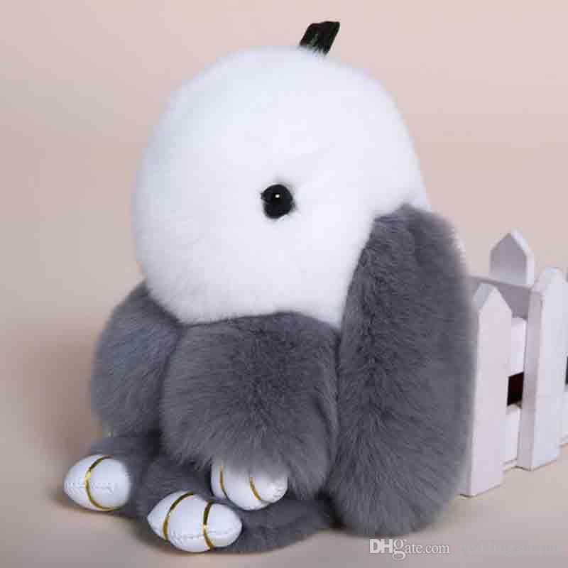 52eea3f9859 Deep Grey Fluffy Bunny Dolls Keychain Girls School Bag Charm Fashion Cute  Youth Girl Purse Handbag Charm Real Fur Rabbit Furry Keychains Custom  Lanyards ...