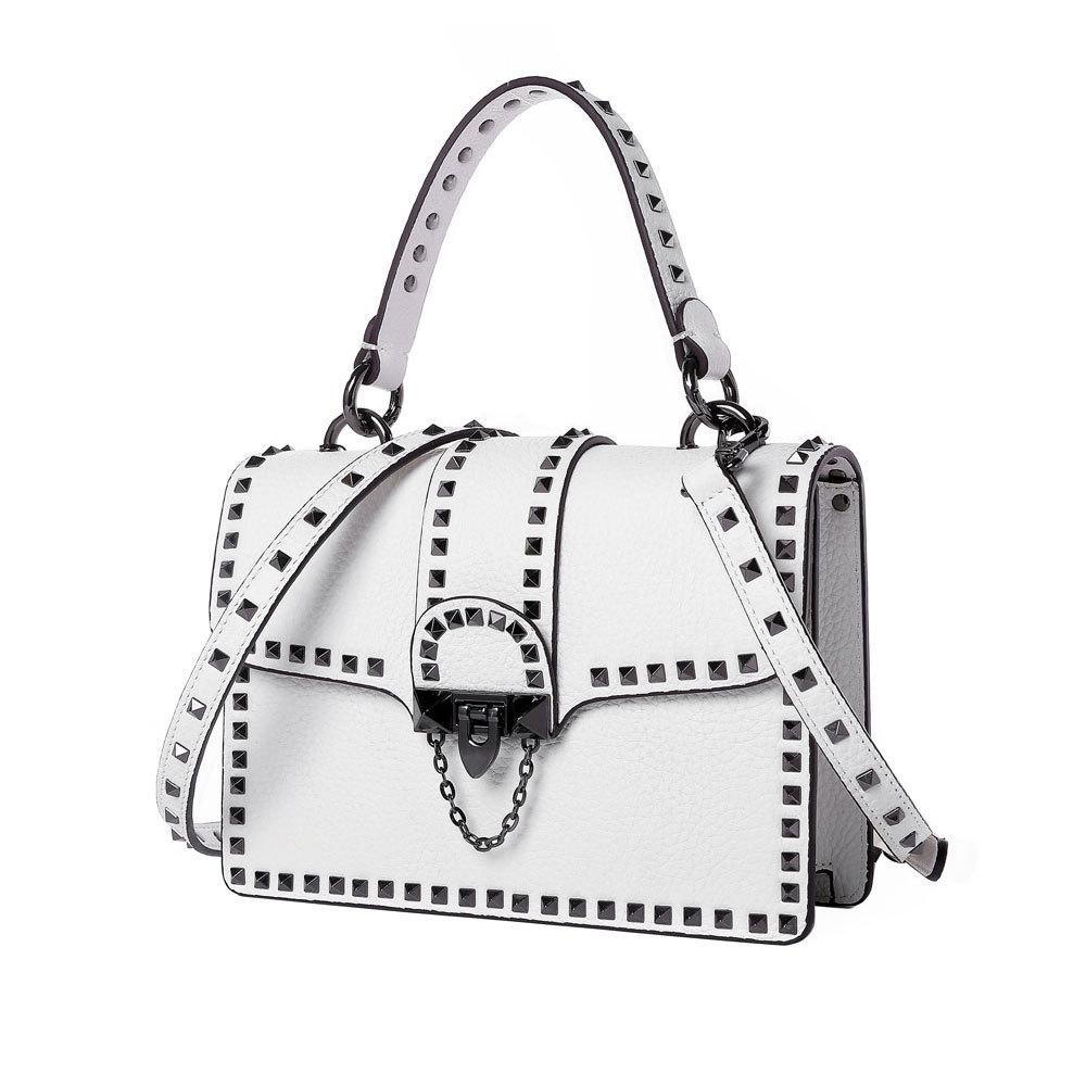 d9b38ac70 Compre 100% Couro Genuíno Moda Bolsas De Rebite Bolsas Femininas De Marcas  Famosas De Couro Clássico Messenger Bags Feminina Bolsa De Ombro Branco De  ...