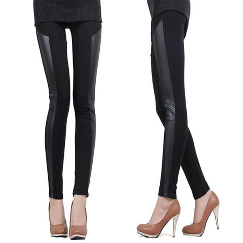 Venta caliente Sexy Otoño de las mujeres de cintura alta de cuero de imitación de cintura alta Patchwork Pantalones de longitud completa Polainas de cuero más cálido pantalones flacos