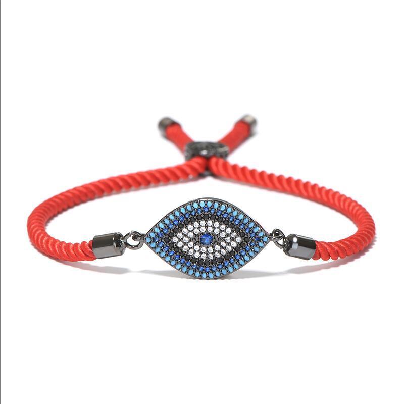 Lujo Evil Eye Micro Crystal Pulsera Red Thread String Turquía étnico Braclet para mujeres niñas mano Lucky joyería turca