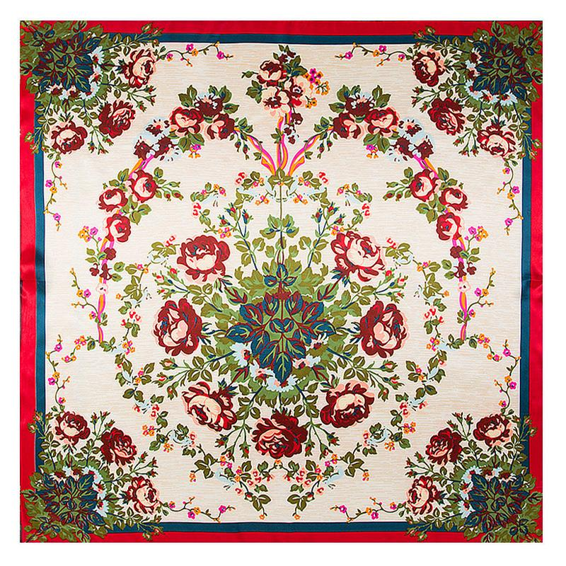 90cm Square Silk Scarf Flower Print Ethnic Boho Designer Foulard ... ff4774e340d