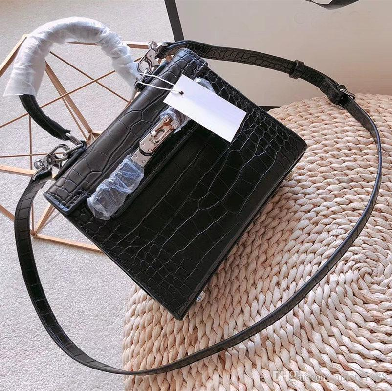 b1dc085efe5b8 Classic Women Polished Leather Handbags Metallic Lock Ladies Clutch Flap Bag  Crocodile Pattern Toolbox Shoulder Crossbody Bags Designer Purses Satchel  Bags ...
