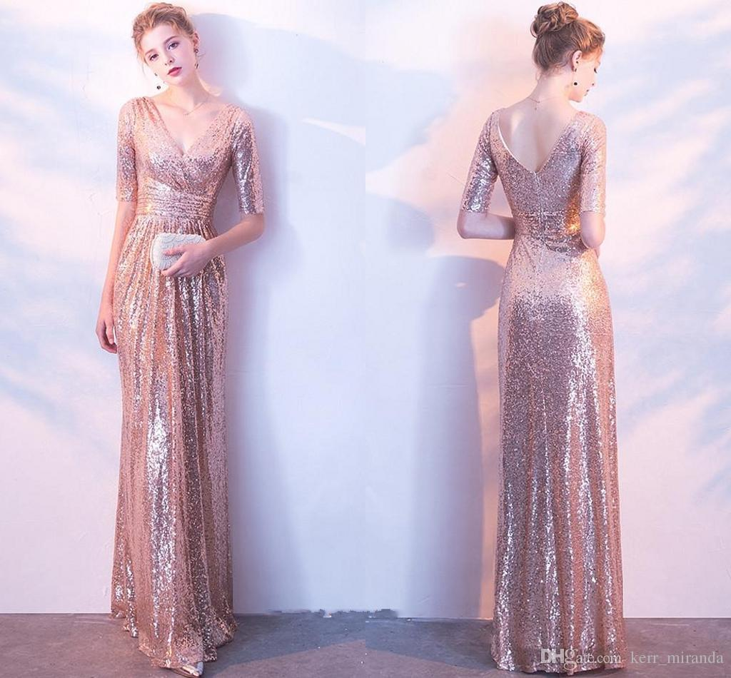 Sparkly Rose Gold Sequin Cheap Mermaid Bridesmaid Dresses Short Sleeve Sequins Backless Long Beach Wedding Party Gowns Gold Champagne