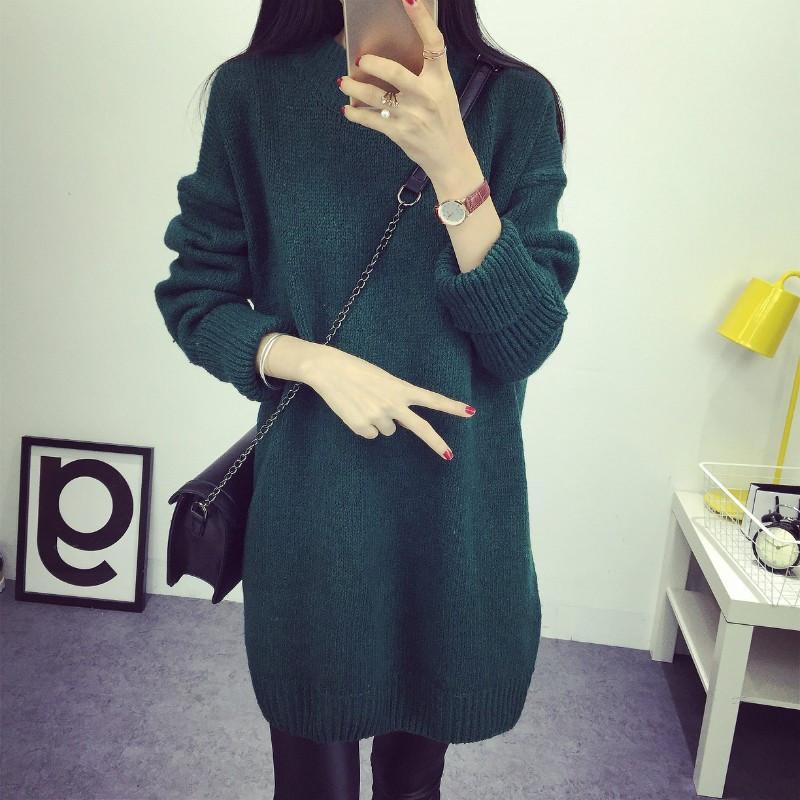 Winter Art und Weise halber Rollkragen-lange Strickjacken-koreanische Art-beiläufige lose starke Pullover-lange Hülsen-gestrickte Frauen-Strickjacke 62999