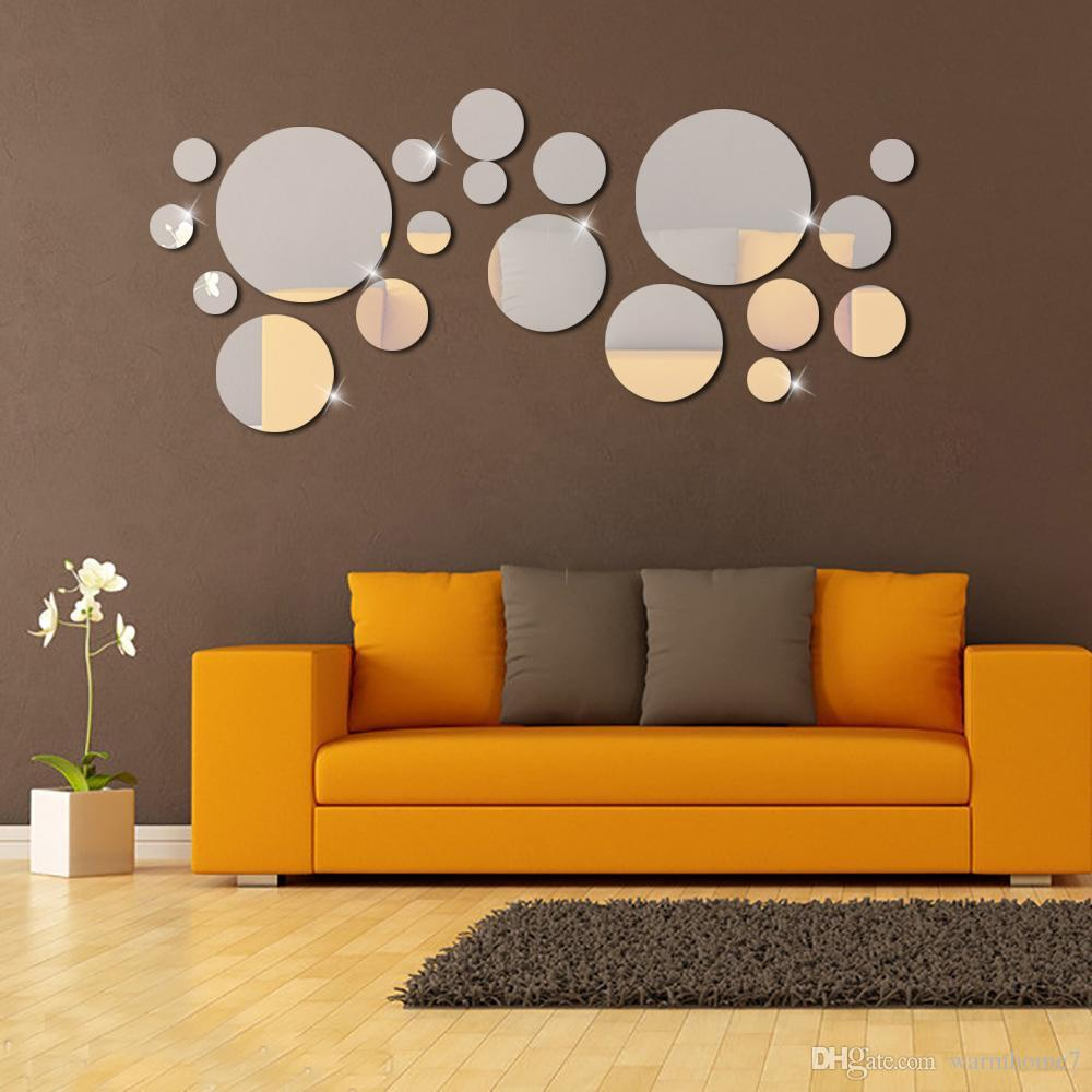 Silver Circle Mirror Wall Stickers 3D DIY Mirror Effect Wall Sticker  Bedroom Plastic Removable Wall Poster Home Decoration Free Shipping NB