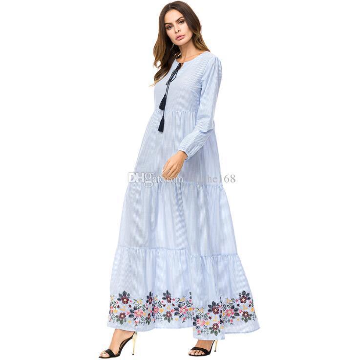d2f94be28b9d6c Großhandel NEUE Frauen Große Größe Kleid Jeans Kleid Muslimischen Mode  Islamische Kleidung Modest Wear Lange Hauchhülse Stickerei Maxi Kleid Abaya  Hijab Von ...