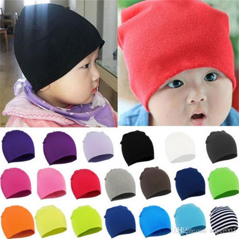 91f576d24e7 2019 Unisex Cotton Beanie Baby Hat Children NewBorn Cute Candy Color Baby  Boy Girl Soft Toddler Infant Cap Accessories From Super003