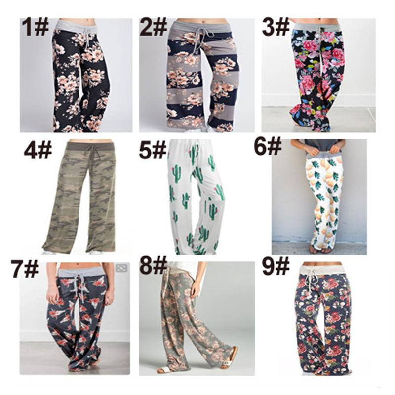 fd07ebef14e 2019 Plus Size Women Floral Print Yoga Palazzo Trousers Pants 32 Style Wide  Trousers Ties Design Loose Sport Harem Pant High Waist Casual Pants From ...