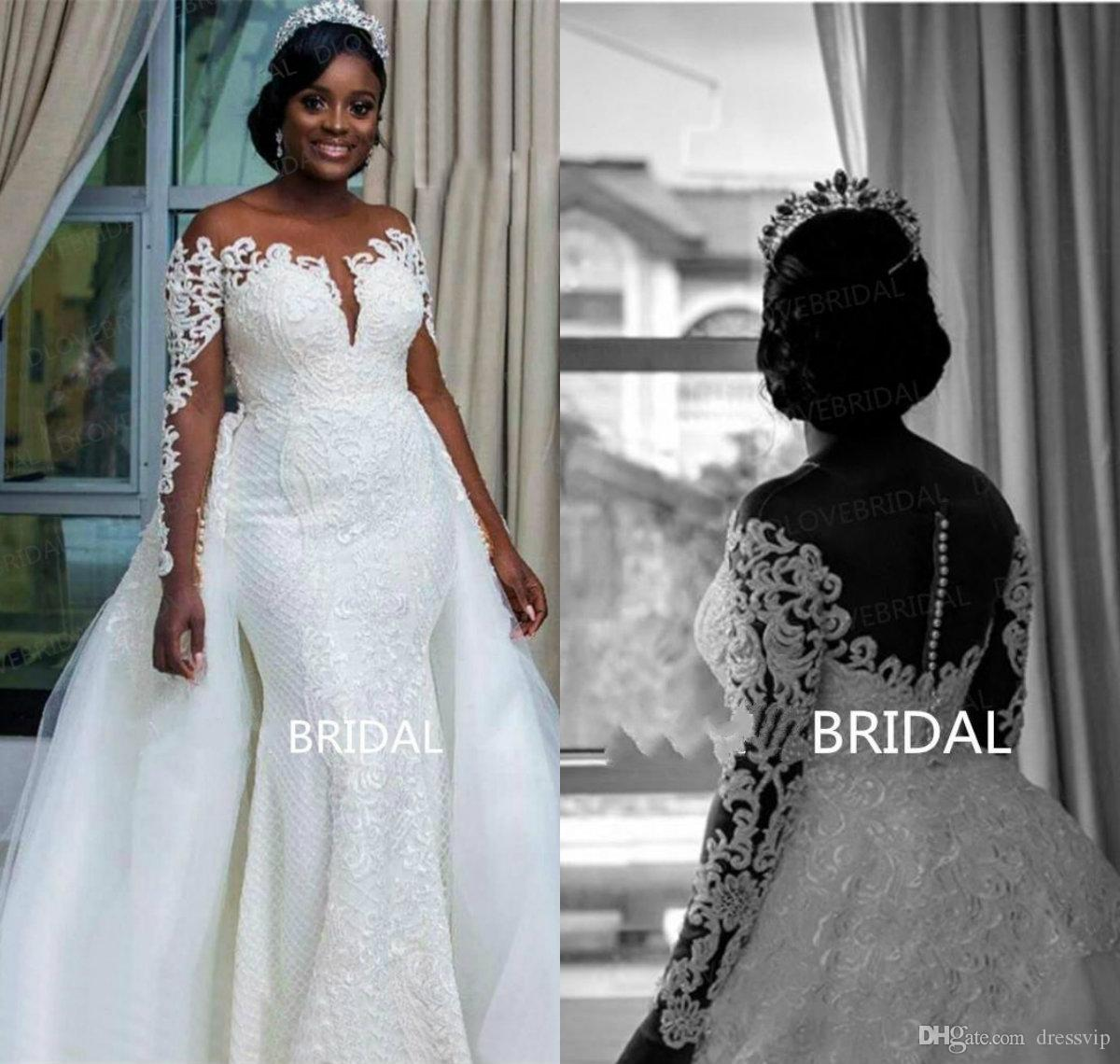 2019 New Plus Size Wedding Dresses Jewel Neck Lace Appliques Sweep