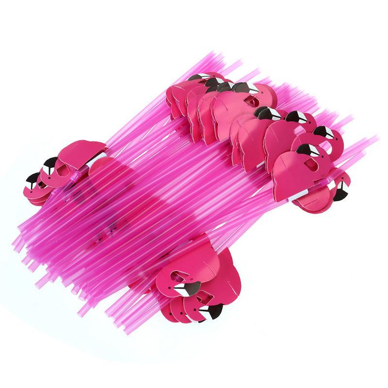 Neue 50 Teile / los Nette 3D Flamingo Stroh Bendy Flexible Kunststoff Trinkhalme Kinder Geburtstag / Hochzeit / Pool Party Dekoration Lieferungen