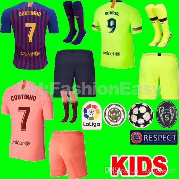 660e035e368 ... top barcelona soccer jersey uniform kit suarez o.dembele third 3rd pink  pique messi promo code for da games youth sportswear barcelona messi 10 kids  ...