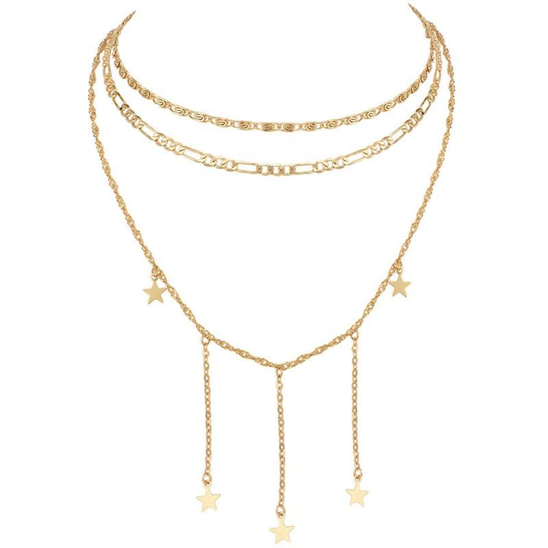 Minimalist Star Tassel Chains Necklace Fashion Jewelry Elegant Gold ... ca5365d0d36e