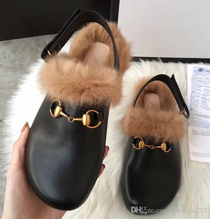 996ba9e8 Compre Nueva Hebilla De Metal G Dos Piezas De Cuero Zapatillas Peludas  Sandalias De Pelo Esponjoso Zapatos De Mujer Botas De Otoño E Invierno Botas  A $39.2 ...