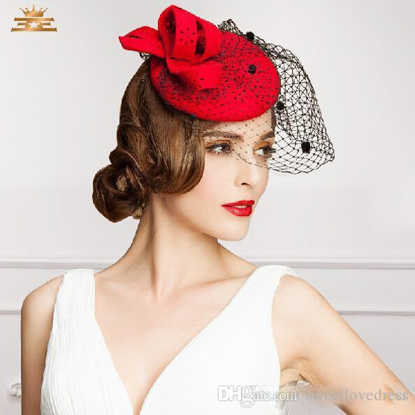 a8cf8868 Beautiful Red Color Bridal Hats Party For Cocktail Women Fascinator Party Wedding  Net Veil Bridal Lovely Eoupean Style Kentucky Derby Hats Small Wedding ...
