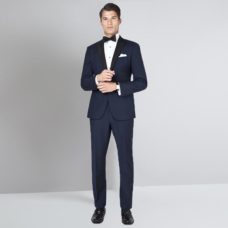 2019 2018 Latest Coat Pant Designs Navy Blue Men Suits For Wedding Prom  Peaked Lapel Slim Fit Male Tuxedos Groom Costume From Fabian05 d57fff2afaf9