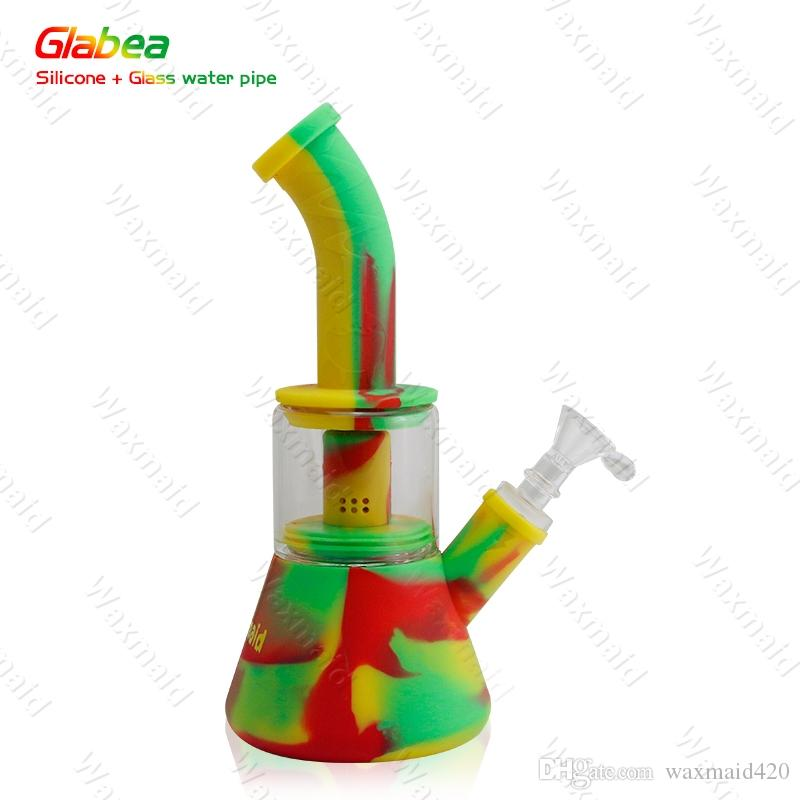 Bong Platinum Cured Silicone Smoke Water Pipes With 14mm Male joint Glass Bongs for choose For Dry Herb DHL