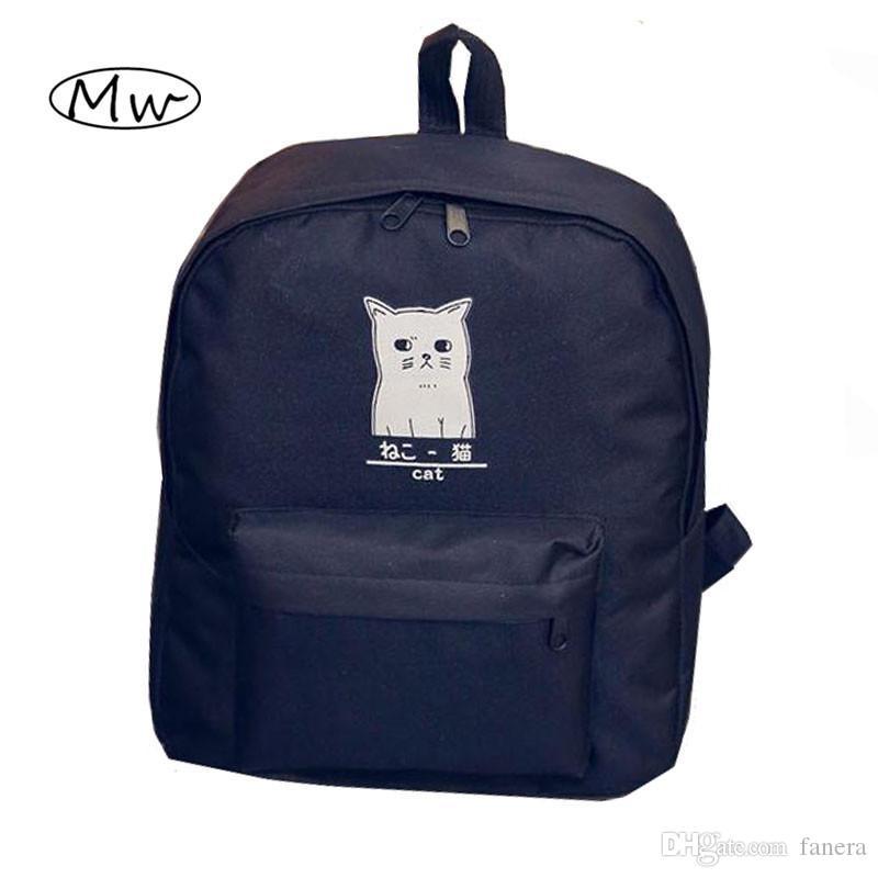 19cf4af650c4 Wholesale Cute Cartoon Japanese Cat Printing Backpack Women Canvas Backpack  School Bags For Teenager Girls College Style Casual Backpack Jansport Big  ...