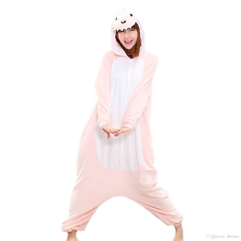 One-Piece Pajamas Unisex Costume Adult Animal Onesie Pink Dinosaur Cosplay