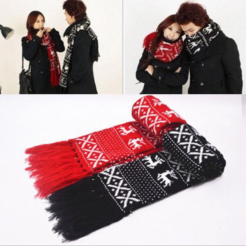 2018 women men winter warm knitted scarf christmas deer lovers scarves shawl wrap black red from taihangshan 27 5 dhgate com