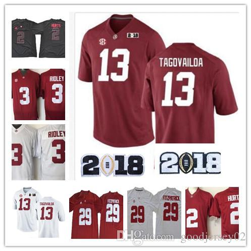 8abdd0602 2019 New Alabama Crimson Tide 13 Tua Tagovailoa 2 Jalen Hurts 3 Ridley 29  Fitzpatrick 9 Scarbrough Red White 2018 Champion NCAA Football Jersey From  ...