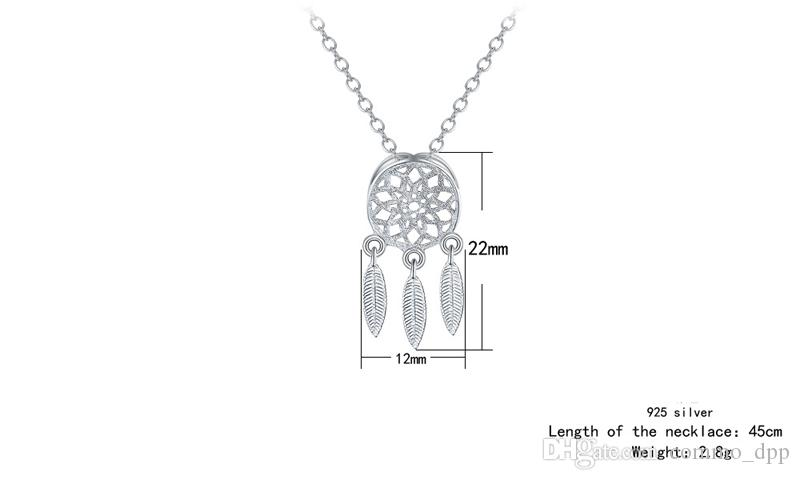 30% 925 Sterling Silver Jewelry sets Korean Dream Catchers feather pendant necklace stud earrings set For women ladies Fashion Jewelry