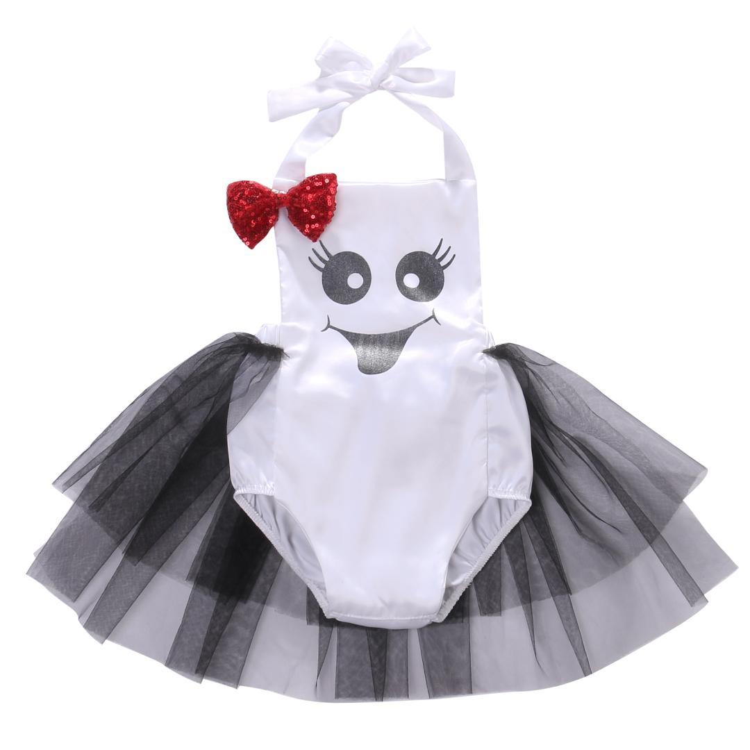 cb7e14f8c93f Satın Al Sevimli Yenidoğan Bebek Kız Halter Tulum Bownot Tutu Tulum Romper  Elbise Elbise Kıyafetleri Yaz