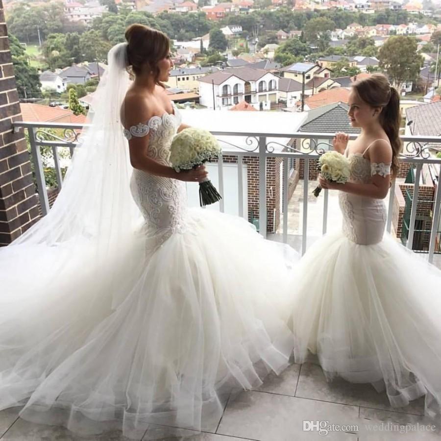 Adorável sereia tule flor menina vestidos de espaguete cinta rendas botão voltar crianças pageant vestidos robe fille fleur