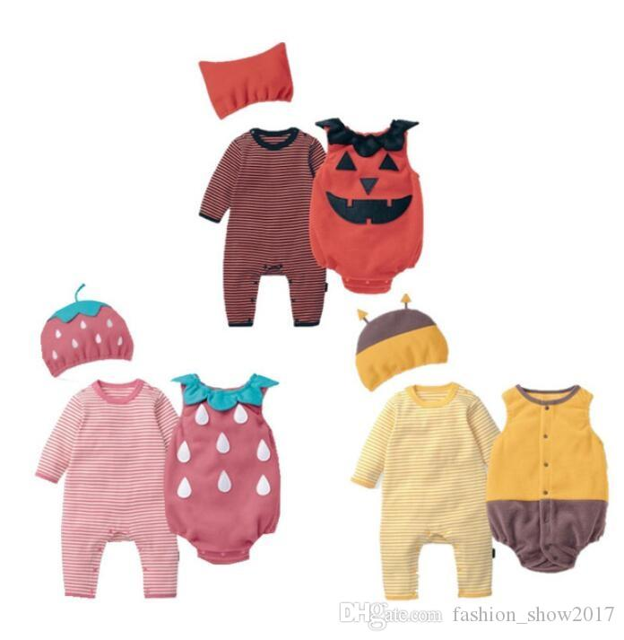 2019 Unisex Baby Clothes Autumn Strawberry Bee Pumpkin Romper+Vest+Hat Set  Outfit Infant Jumpsuit Halloween Purim Cosplay Costume From  Fashion show2017 c168808fb9f7