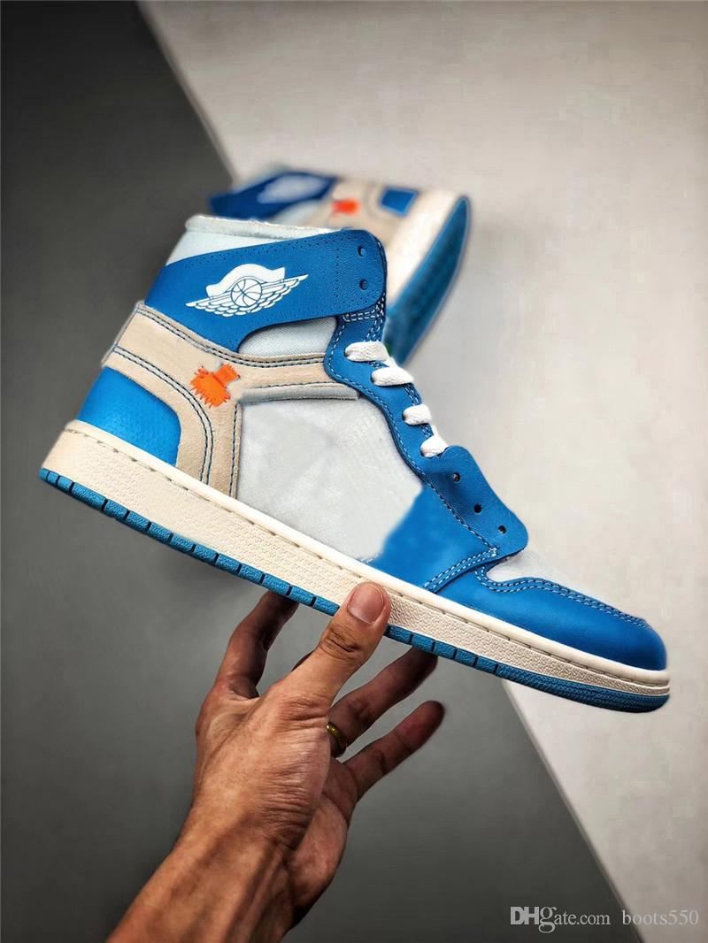 new arrival 36090 9f57e 2018 Best High 1 UNC Powder blue White 1S Men Women basketball Shoes  Authentic Quality Man Sneakers With Box AQ0818-148