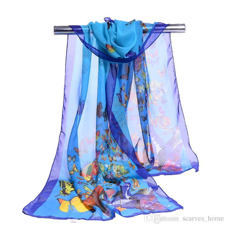 Nouveau Paréo écharpe Femmes plage Sarongs été foulards en mousseline de couleur couleur papillon imprimer Ventes chaudes été plage foulard foulard en mousseline