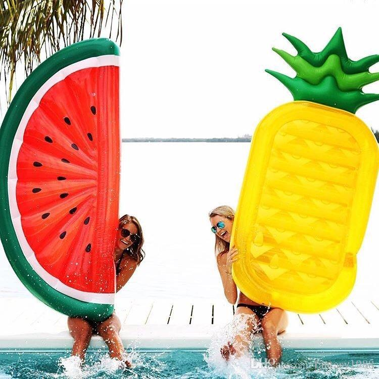 Summer Giant Inflatable Floating Air Mattresses Watermelon Rainbow Pineapple Floating Bed Party Float Inflatable Tubes Fast Shipping