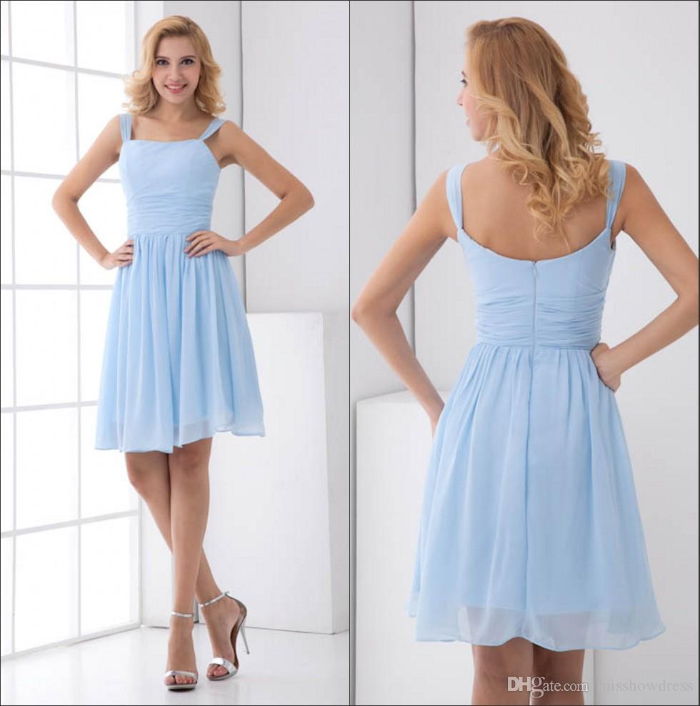 Spaghetti Straps Chiffon Short Bridesmaid Dresses Light Sky Blue Knee Length Formal Wedding Guest Maid Of Honor Cocktail Zpt190: Wedding Light Blue Short Bridesmaid Dresses At Websimilar.org