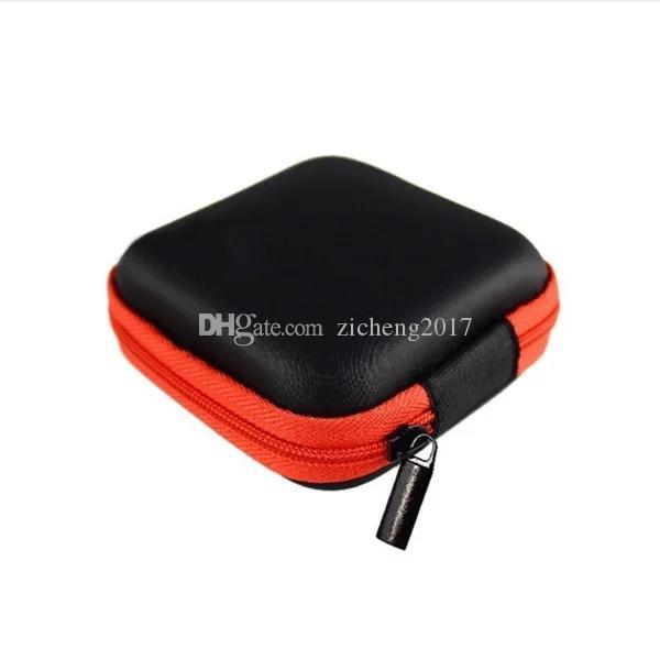 Zipper Hard Headphone Case PU Leather Earphone Storage Bag Protective USB Cable Organizer, Portable Earbuds Pouch box