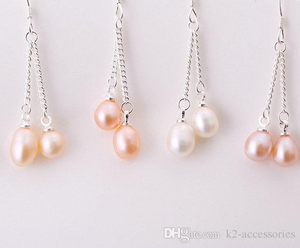 Freshwater Cultured Pearl Wholesale White Purple cream Pearl Fashion Hook Pearl Earrings Jewelry Gift