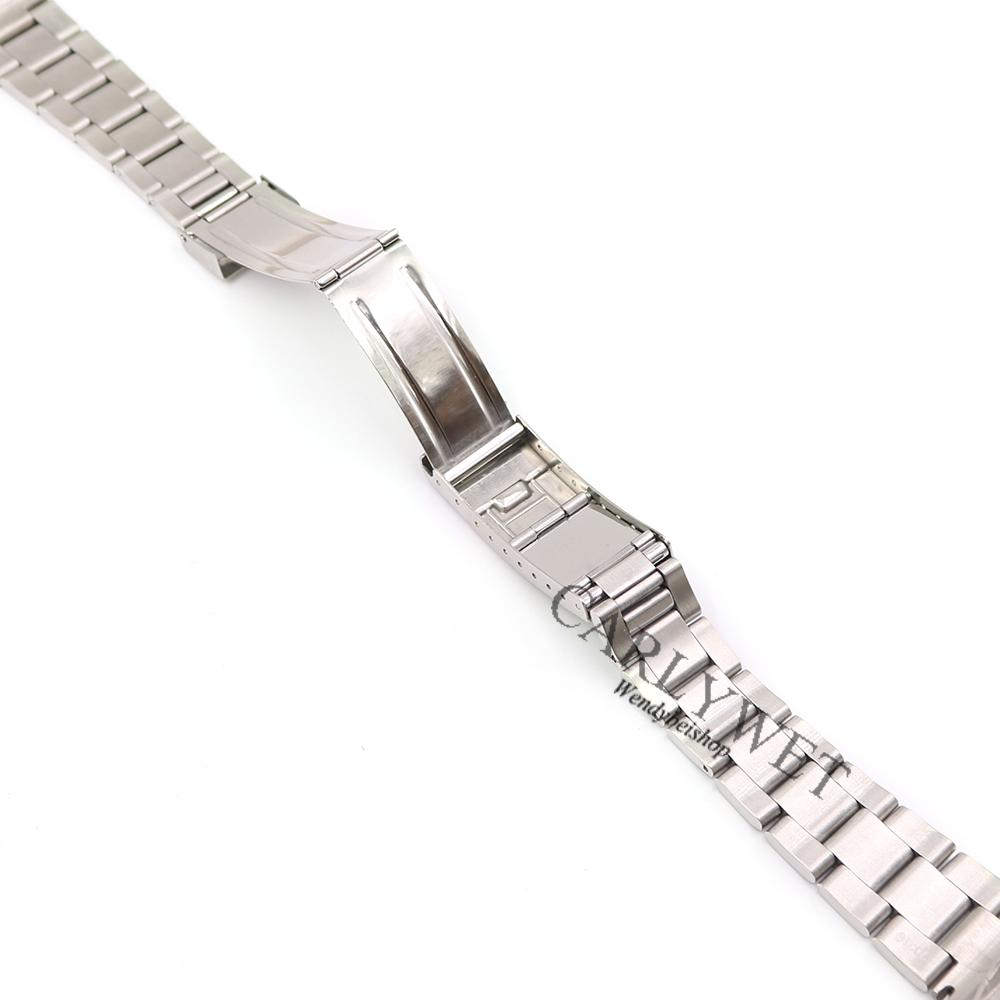 CARLYWET 20mm Wholesale Silver Two Tone Middle Gold Solid Curve End 316L Stainless Steel Replacement Watch Band Strap Bracelet