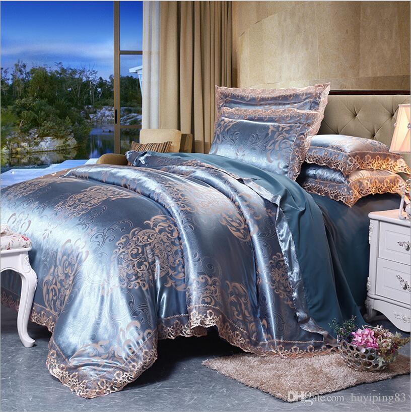 Lace Jacquard Quilt/Duvet Cover Queen King Size Satin Bedding Set ... : jacquard quilt - Adamdwight.com
