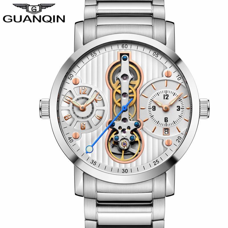 d1a92932e61 Compre Guanqin Turbilhão New 2018 Esqueleto Automático Relogio Masculino  Esporte Homens Relógios À Prova D  água Diver Relógios Mecânicos 16103 Um  Y1892103 ...