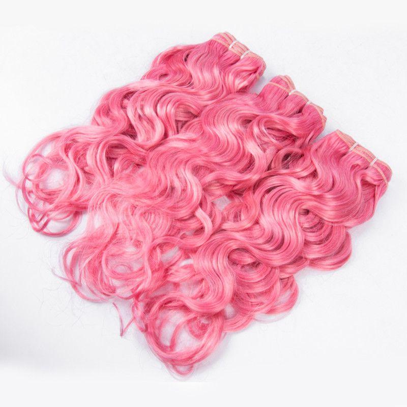 Bonito color rosa brasileño mojado ondulado paquetes de cabello humano / Agua onda color puro trama de cabello extensión 300g