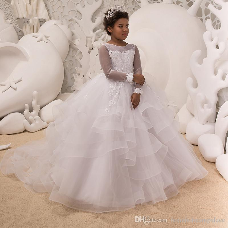 6297206b5 White Ball Gown Flower Girl Dresses 2018 New Girls Pageant Gowns For ...