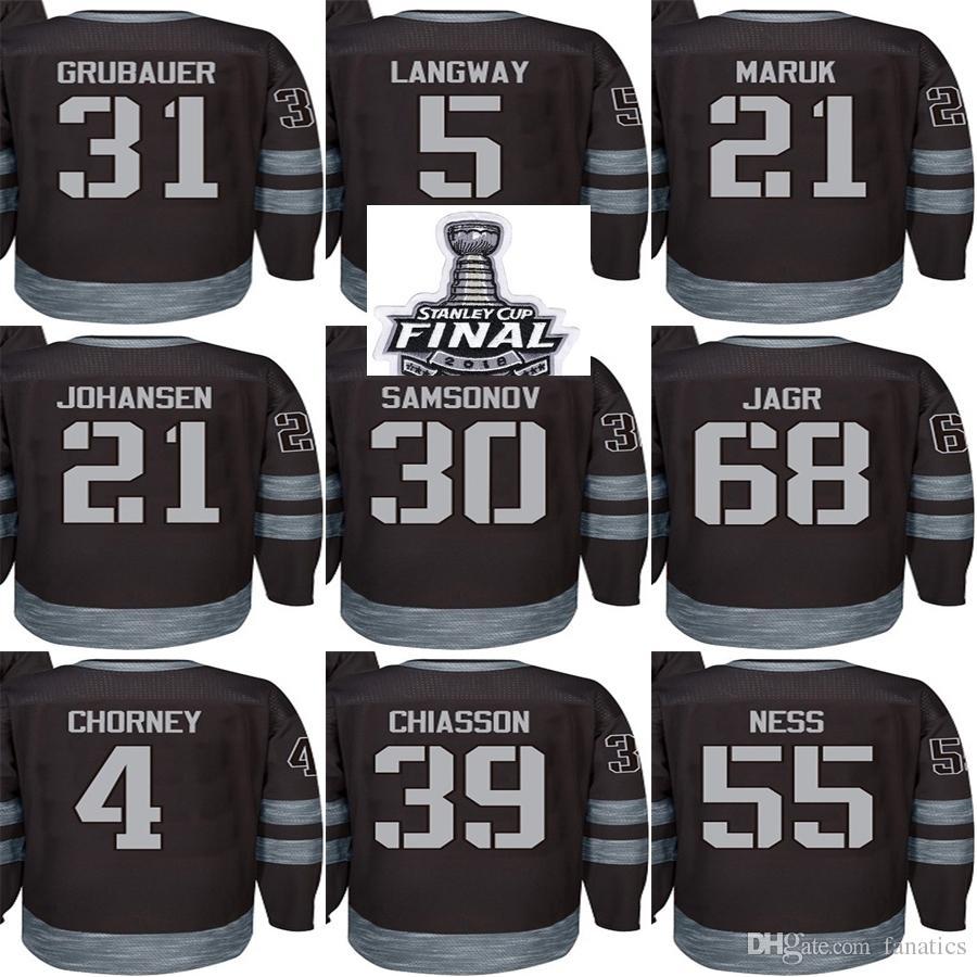 2019 Cheap 2018 Stanley Cup Champions Men Capitals Black 100th Anniversary  Langway Johansen Grubauer Jagr Chorney Chiasson Ness Hockey Jerseys From  Fanatics ... 052589418