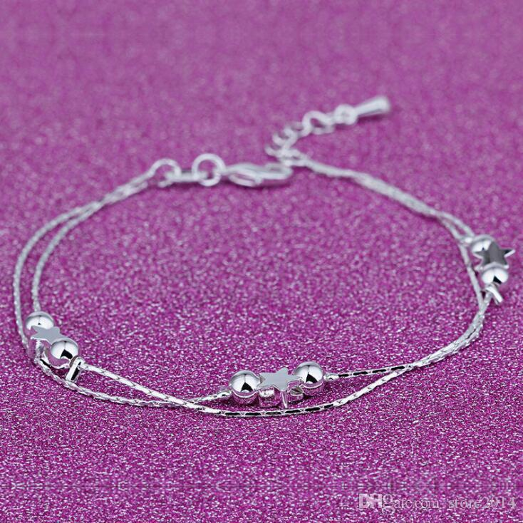 New Foot Jewelry Anklets Hot Sale Silver Anklet Link Chain For Women Girl Foot Bracelets Fashion Jewelry Wholesale