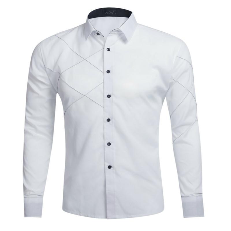 Compre 2017 Marca Blanca Hombres Camisa De Manga Larga Chemise Homme Diseño  De Negocios De Moda Para Hombre Slim Fit Camisas De Vestir Casual Camisa  Social ... 0cb2f80f9ed