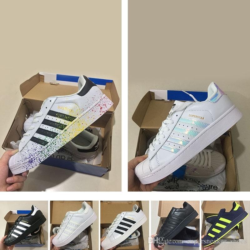 422c3a0b7f Compre 2018 Sneakers Originais Autênticos Adidas Originals Superstar W Tênis  Classic 80S Mans   Women s Shoes 100% Smith Clássico Branco Tênis De Skate  ...