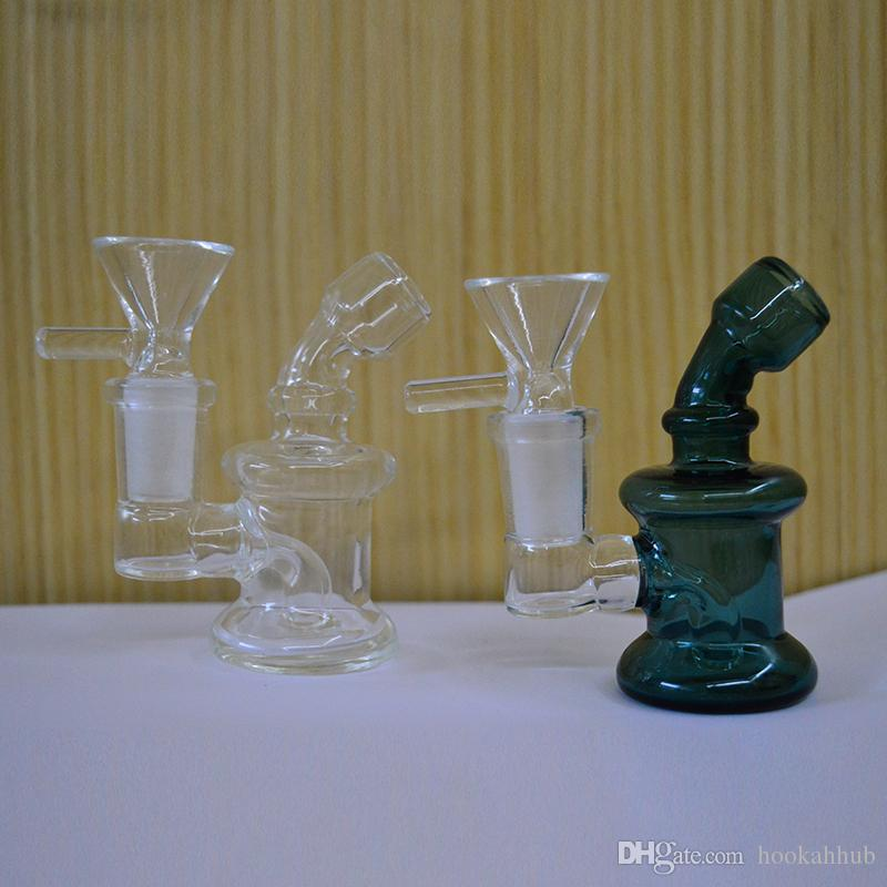 Mini Bong Thick Dab Rig Bubbler 3 Inch Oil Rig Heady Glass Dab Rigs 14mm Female Rigs Beaker Water Pipe Small Bong Recycler Pyrex Water Bongs