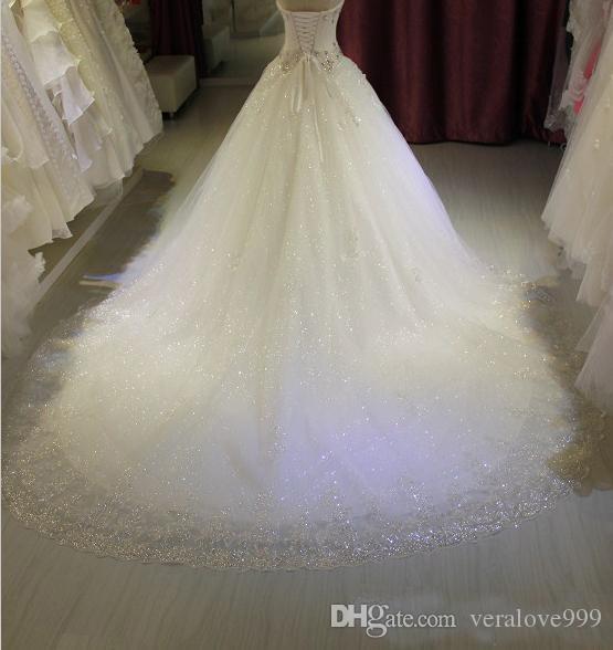 2017 Vestidos De Novia Luxus Perlen Kristall Strapless Ballkleid Brautkleider Sweep Zug Lange Brautkleider Nach Maß