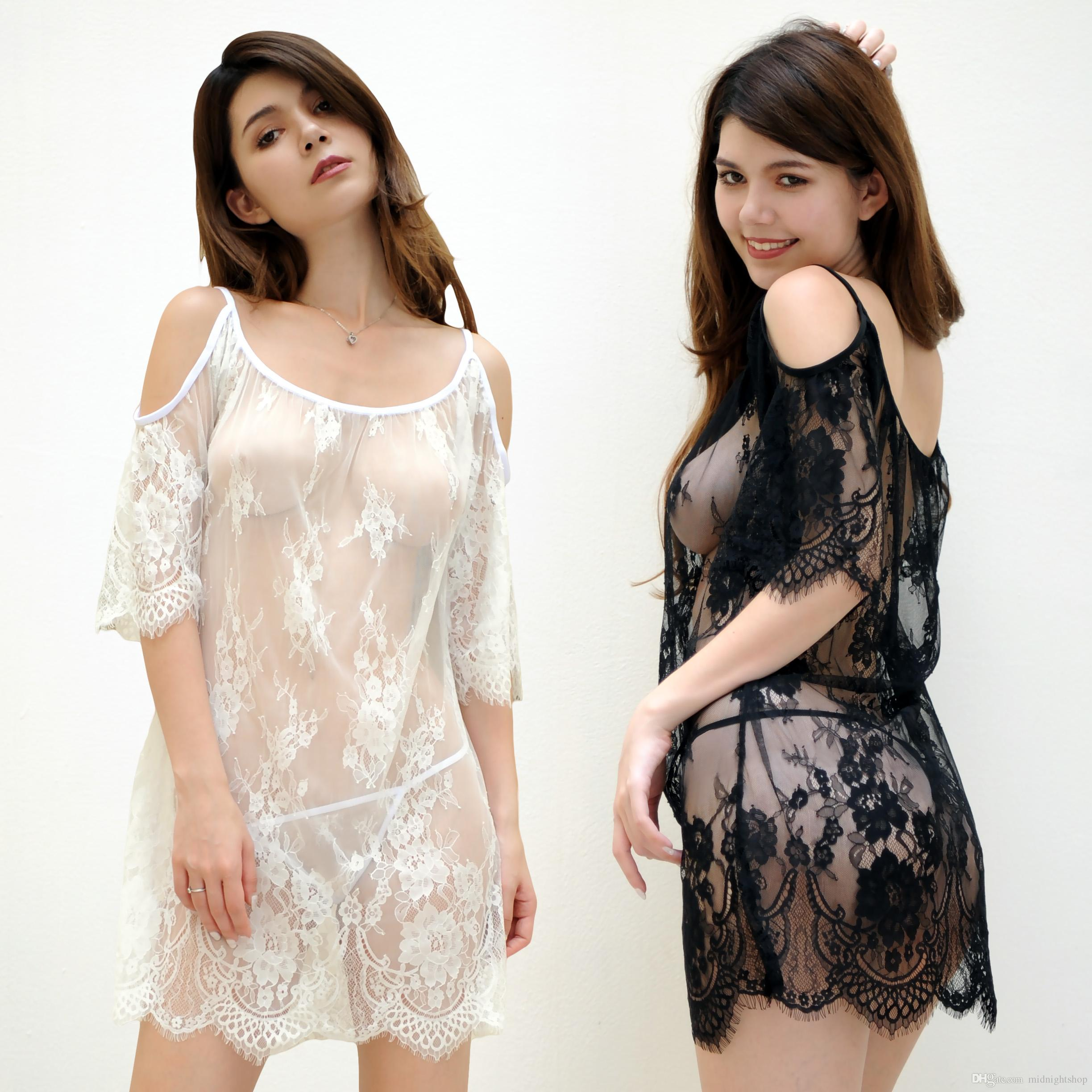 81a3b391e9 2019 Factory Wholesale Sexy Underwear Lace Girl Sleepwear Black And White  Colour Sexy Dress Pajamas MN060 From Midnightshop