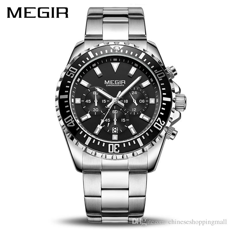 603695459ba MEGIR Luxury Business Quartz Watch Men Brand Stainless Steel Chronograph  Army Military Wrist Watch Clock Relogio Masculino Male Buying Watches First  Wrist ...