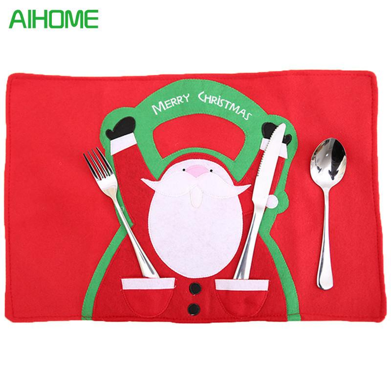 2019 AIHOME Lovely Home Decor Christmas Table Mats Dinner Placemats Santa Claus Napkins Cloth Cover For Kitchen Holiday Party From Anzhuhua
