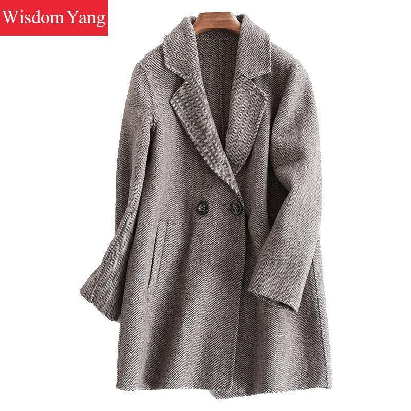 pretty nice 50d80 ff77a Cappotto di lana donna elegante scozzese rosso Plaid Giacca donna di vento  invernale allentato 2018 Cappotto grigio femminile cappotto di lana casual  ...