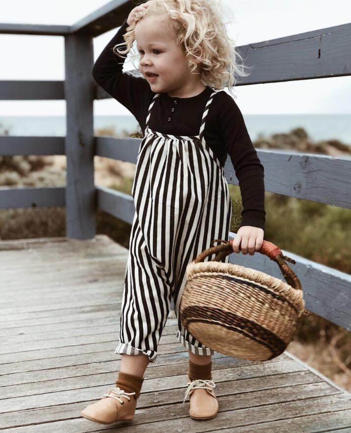 Acheter 2019 Ins Nouveau Mode Bébé Garçons Filles Rayé Sling Salopette Noir  Et Blanc Couleur Rayé Enfants Pantalon Enfant De $116.76 Du Henryk